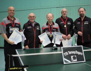 Foto von links: Josef Link, TTG-Vorsitzender Gottfried Brubach, Friedhelm Paus , Willi Lambrich und Dr. Ingo Stierle